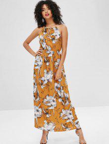حزام الملتوية جمع فستان ماكسي الأزهار - ساندي براون Xl