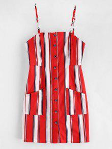 ZAFUL Stripes جيوب زر حتى اللباس البسيطة - الحمم الحمراء L