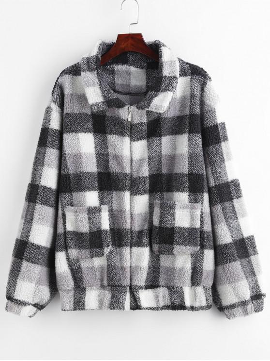 trendy ZAFUL Zip Up Fluffy Plaid Teddy Winter Coat - BLACK L