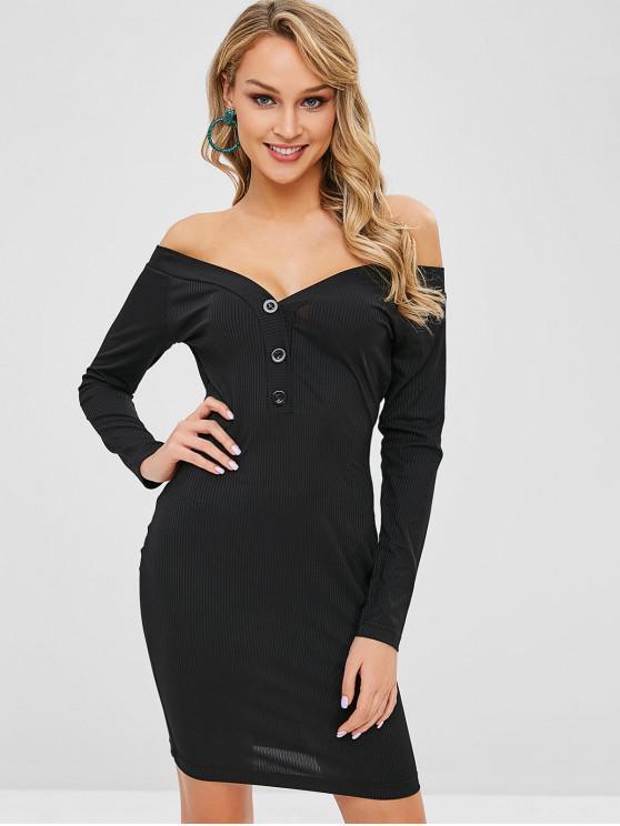 chic ZAFUL Ribbed Half-Buttoned Off Shoulder Dress - BLACK M