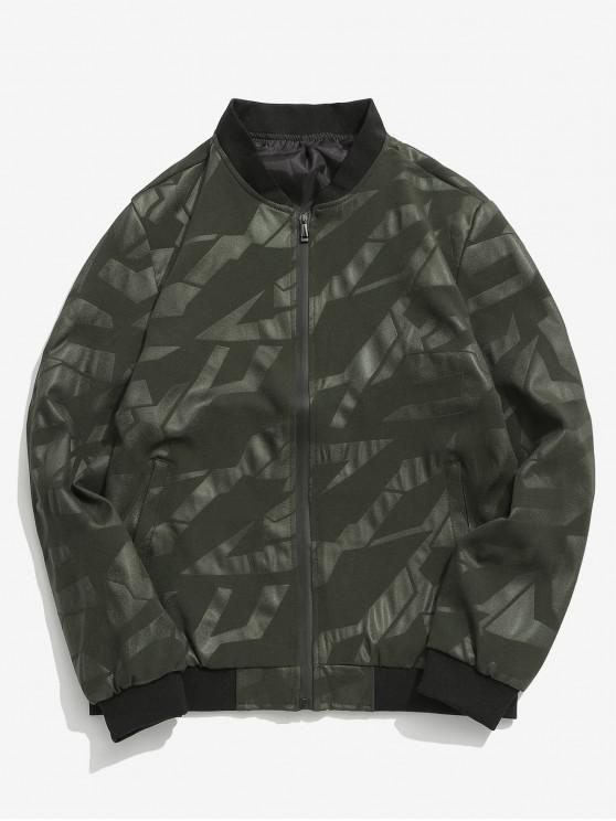outfit Simple Zipper Placket Baseball Jacket - ARMY GREEN M