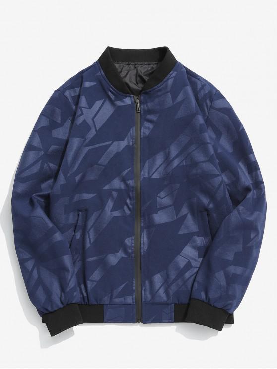fashion Simple Zipper Placket Baseball Jacket - LAPIS BLUE L