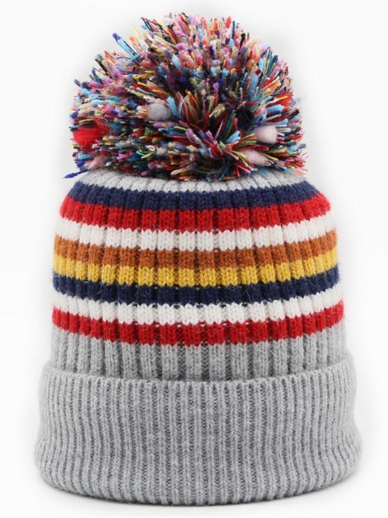 Winter Fuzzy Striped Decoration Beanie
