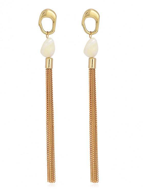 best Shell Metal Chain Tassel Metal Ring Stud Earrings - GOLD
