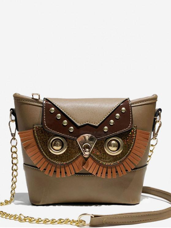 outfit Metal Chain Joint Owl Pattern Crossbody Bag - DEEP BROWN