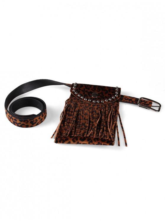 outfit Leopard Pattern Tassel Fanny Pack Belt - DEEP BROWN