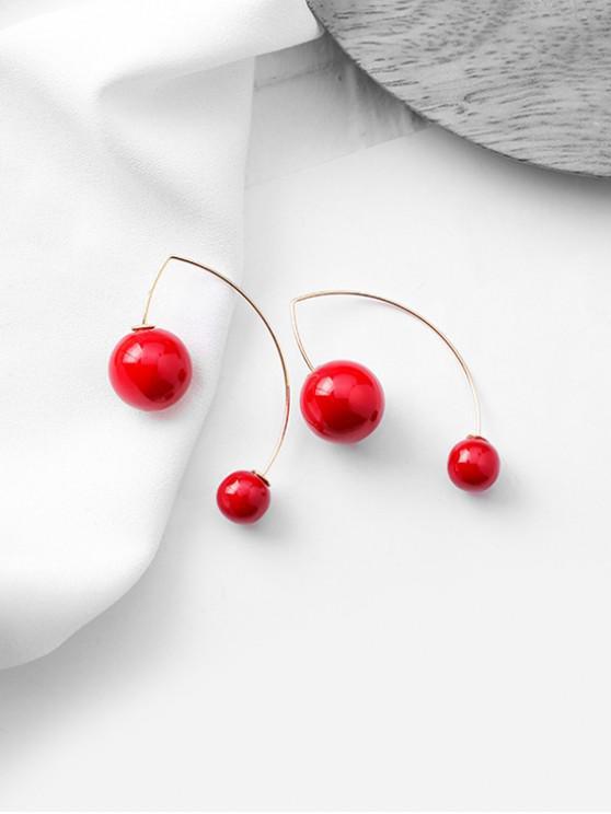 Faux Pearl Decoration Dangle Earrings - أحمر