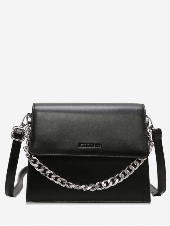 women Chain Decorative Flap Corssbody Bag - BLACK