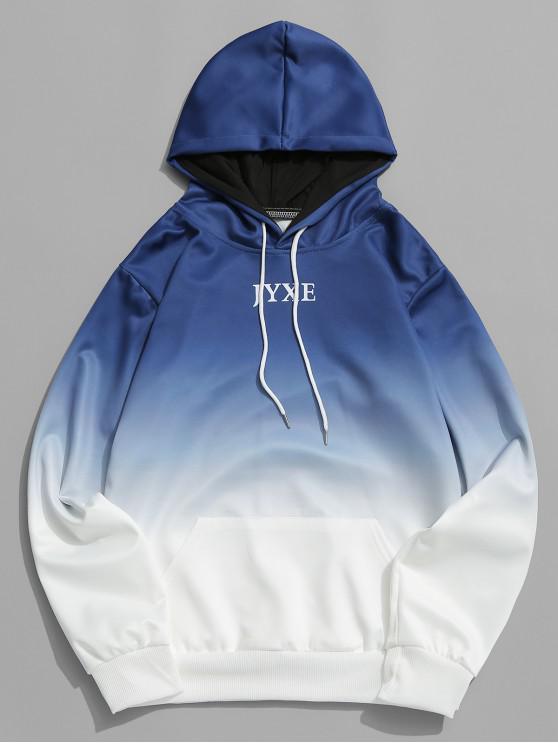 Sweat à Capuche Lettre Ombré Imprimé avec Poche Jointive - Bleu Lapis S