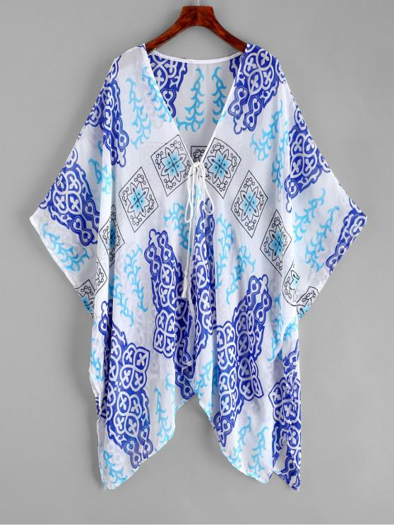 sale Tie Front Printed Kimono Cover-up - MULTI-A ONE SIZE