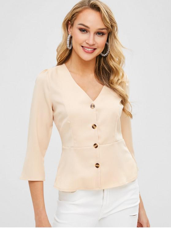 women ZAFUL Plunge Button Fly Peplum Blouse - BLANCHED ALMOND L