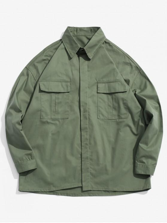 fashion Chest Pockets Loose Jacket - ARMY GREEN XL