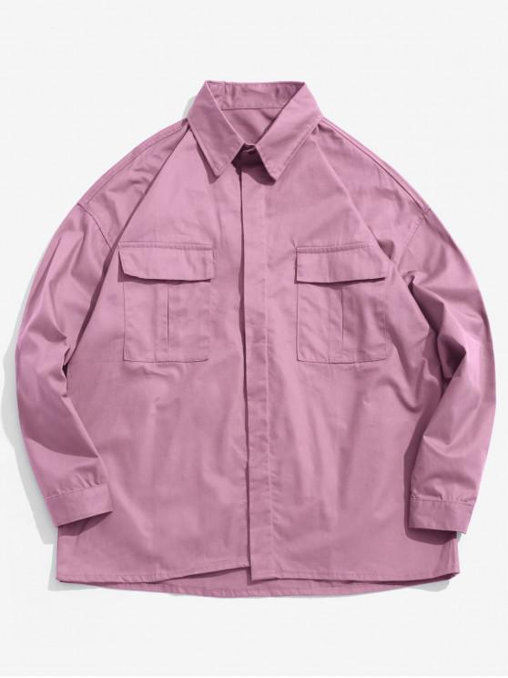 trendy Chest Pockets Loose Jacket - PINK CUPCAKE 2XL