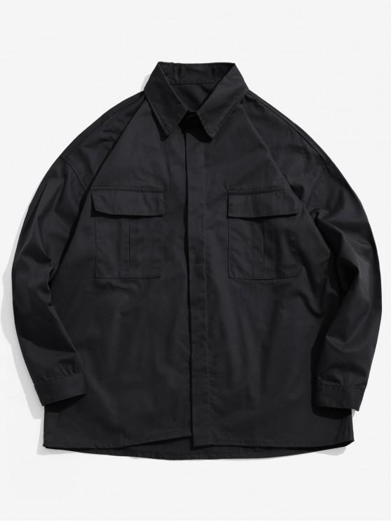 buy Chest Pockets Loose Jacket - BLACK 2XL