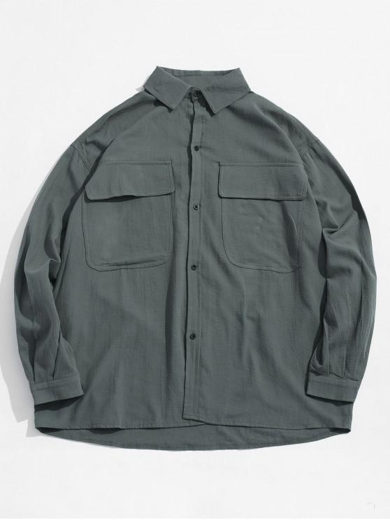 best Button Fly Chest Pockets Jacket - BLUE GRAY L