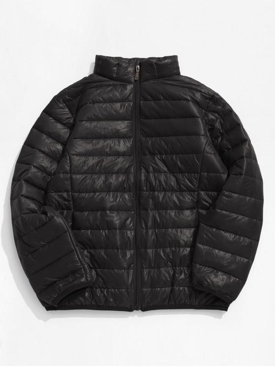 women Solid Padded Lightweight Jacket - BLACK EEL S