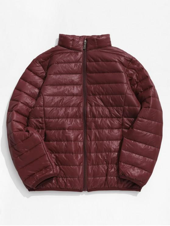 hot Solid Padded Lightweight Jacket - CHESTNUT RED XS