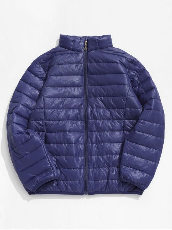 fashion Solid Padded Lightweight Jacket - CADETBLUE L