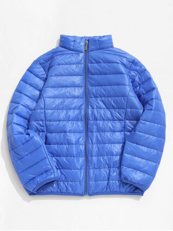 unique Solid Padded Lightweight Jacket - BLUEBERRY BLUE M