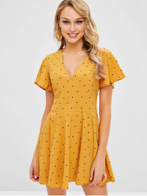 women ZAFUL Plunge Polka Dot A Line Dress - BEE YELLOW XL