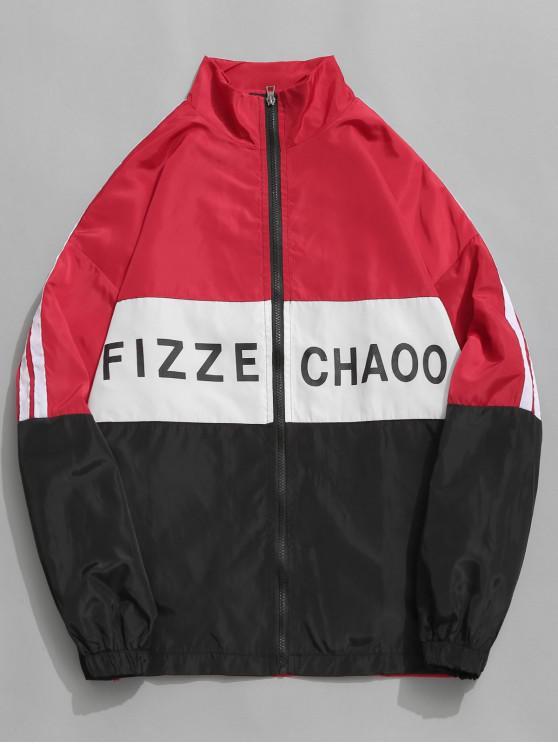 buy Graphic Side Striped Windbreaker Jacket - RED XL