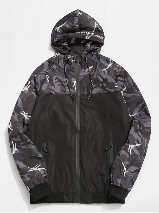 ladies Camo Hooded Windbreaker Jacket - GRAY L