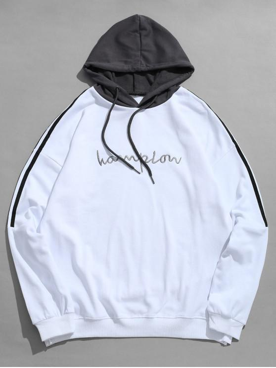 trendy Contrast Stripe Chest Embroidery Letter Hoodie - WHITE L