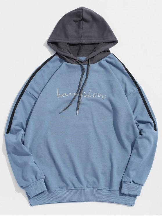Sudadera con capucha de la letra del bordado del pecho de la raya del contraste - Azul 3XL