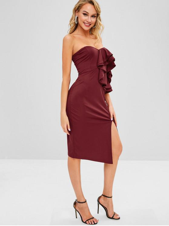 hot Ruffles Off Shoulder Slit Fitted Dress - RED WINE M