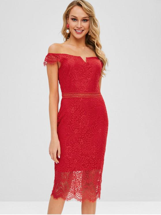 shops Off Shoulder Bodycon Lace Dress - RED M