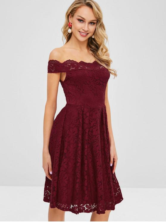 5106258537dc1 28% OFF] 2019 Off Shoulder Scalloped Lace Dress In RED WINE | ZAFUL
