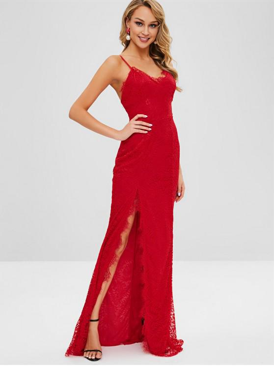 fashion High Slit Spaghetti Strap Lace Dress - RED M
