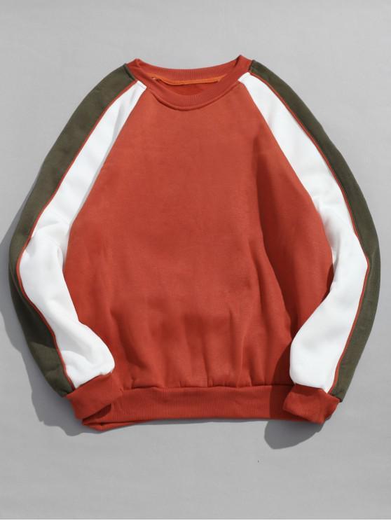 Sweat-shirt Contrasté à Manches Raglan en Toison - Orange M