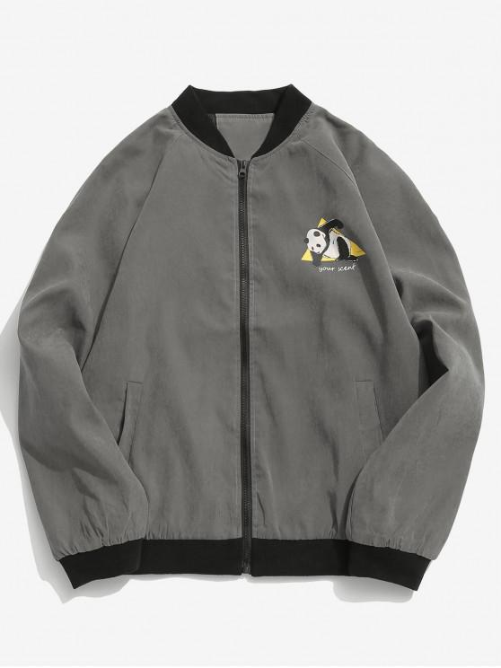 online Panda Graphic Bomber Jacket - DARK GRAY L