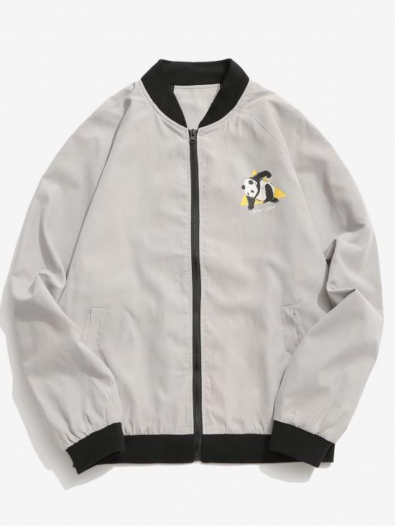 lady Panda Graphic Bomber Jacket - LIGHT GRAY L