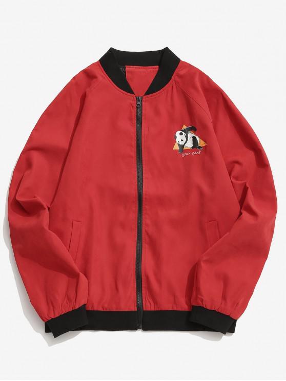 ladies Panda Graphic Bomber Jacket - RED 2XL