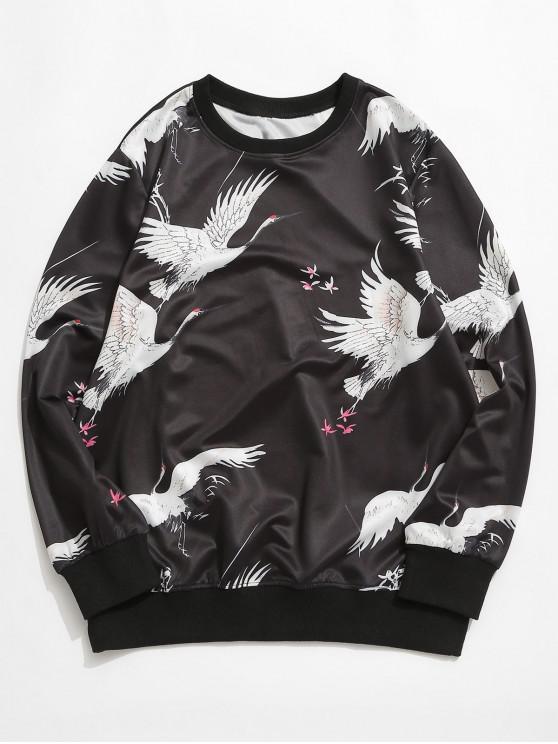 Sudadera Gráfica Pájaros Cuello Redondo - Negro 3XL