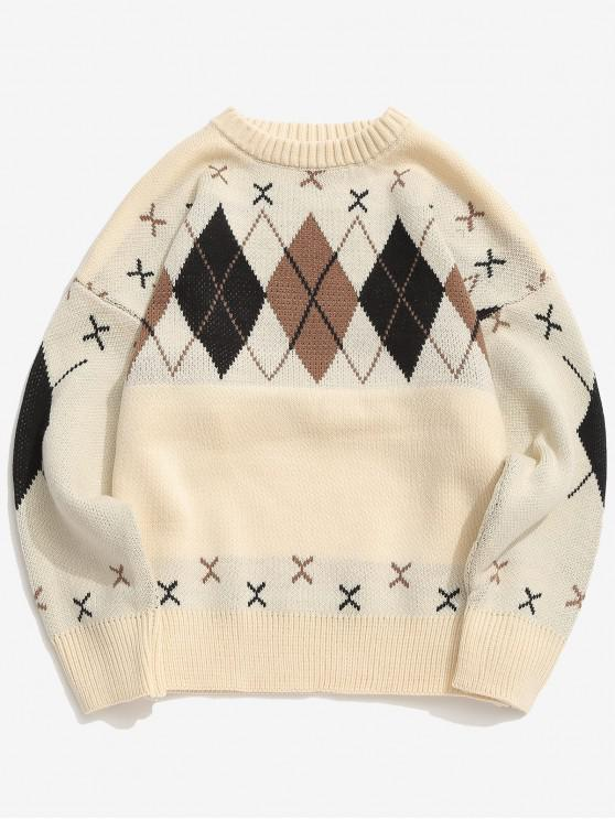 Suéter de punto suelto patrón de cuadros - Albaricoque 2XL