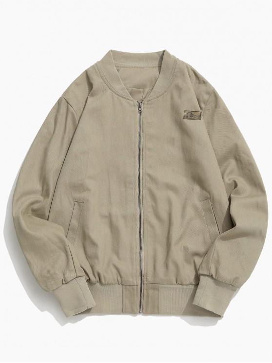 shop Back Letter Patchwork Zipper Jacket - KHAKI L