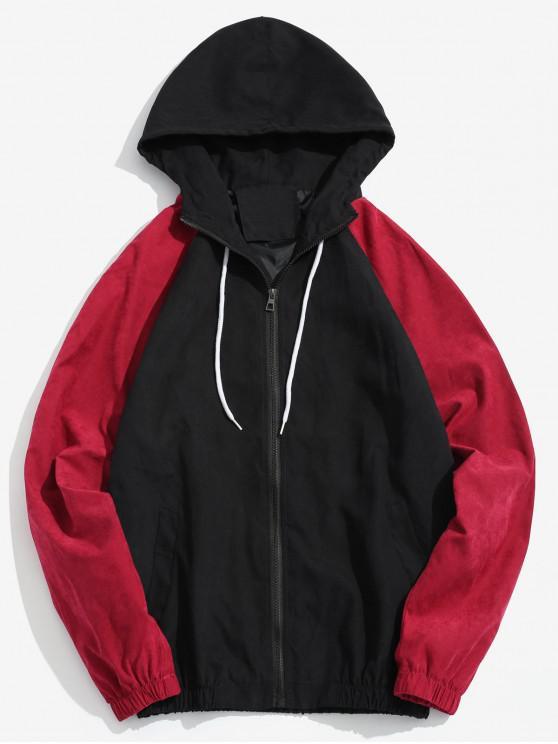 best Raglan Sleeve Contrast Letter Jacket - BLACK L