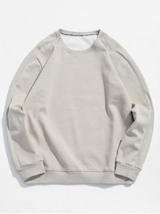 Stickerei Brief Fleece Sweatshirt - Aprikose S