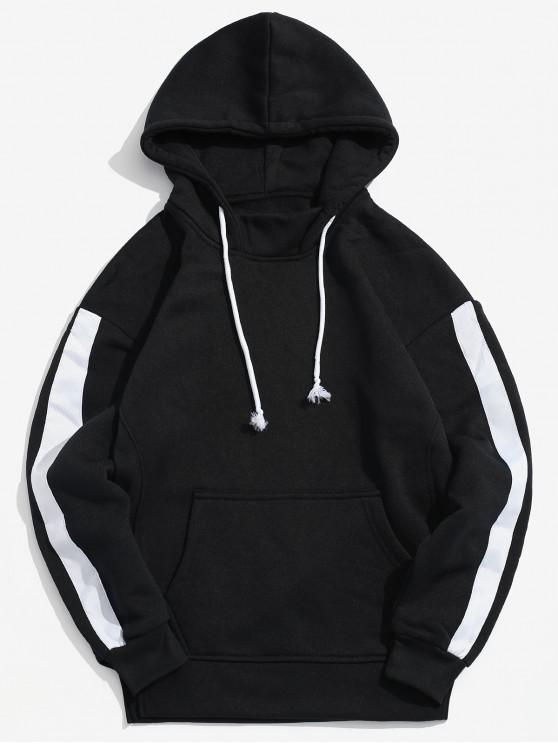 outfit Side Ribbon Patchwork Fleece Hoodie - BLACK XS