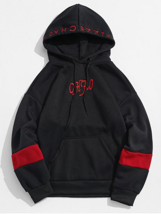 shops Letter Embroidery Contrast Fleece Hoodie - BLACK XS