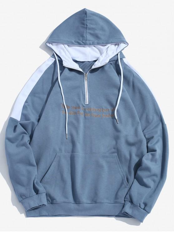 ladies Contrast Sentence Embroidery Hoodie - BLUE L