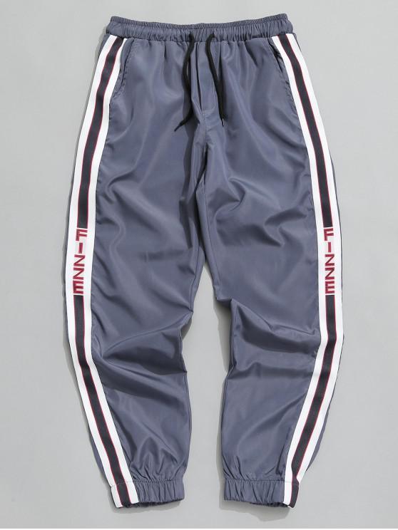 fashion Side Stripe Drawstring Jogger Pants - BLUE GRAY S
