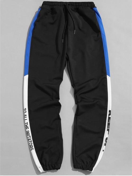 Side Letter Graphic Sports Jogger pantalones - Negro XL