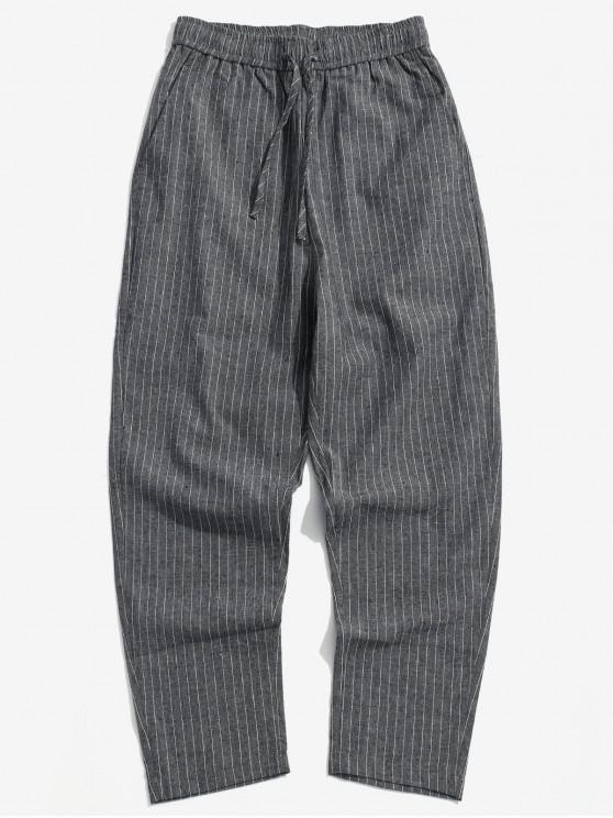 outfits Stripe Casual Drawstring Pants - DARK SLATE GREY M
