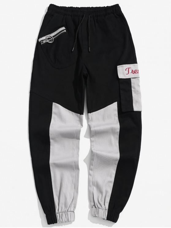 unique Color Block Pockets Jogger Pants - BLACK L