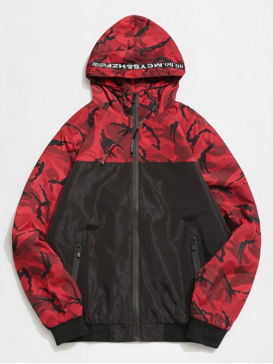 chic Camo Hooded Windbreaker Jacket - RED L