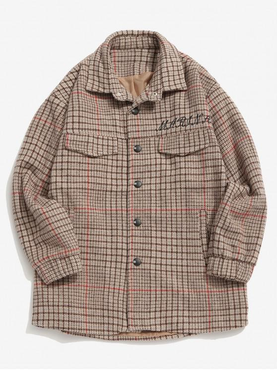 womens Snap Button Plaid Woolen Jacket - GRAY M